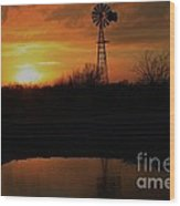 Kansas Blaze Orange Sunset With Windmill And Water Reflection Wood Print