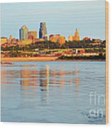 Kansas City Downtown From Kaw Point Wood Print