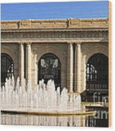 Kansas City Fountain At Union Station Wood Print by Andee Design