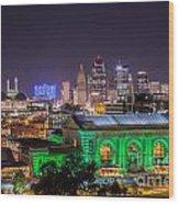 Kansas City In Lights Wood Print