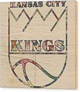 Kansas City Kings Retro Poster Wood Print
