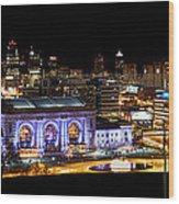 Kansas City Lights Wood Print