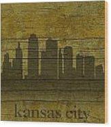 Kansas City Missouri City Skyline Silhouette Distressed On Worn Peeling Wood Wood Print