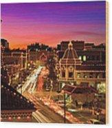 Kansas City Plaza Christmas Lights Skyline Wood Print