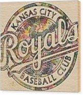 Kansas City Royals Logo Vintage Wood Print