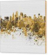 Kansas City Skyline In Orange Watercolor On White Background Wood Print
