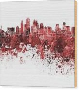 Kansas City Skyline In Red Watercolor On White Background Wood Print