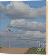Kansas Country Road With Sky Wood Print