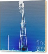 Kansas Country Windmill Inverted Negative Sunset Wood Print