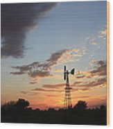 Kansas Golden Sky With A Windmill Wood Print