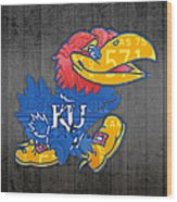 Kansas Jayhawks College Sports Team Retro Vintage Recycled License Plate Art Wood Print