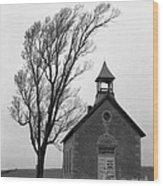 Kansas Schoolhouse Wood Print
