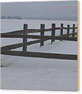 Kansas Snowy Wooden Fence Wood Print