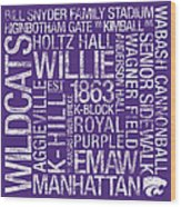 Kansas State College Colors Subway Art Wood Print by Replay Photos