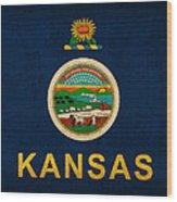 Kansas State Flag Art On Worn Canvas Wood Print