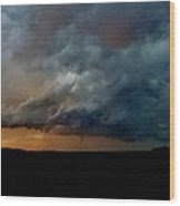 Kansas Tornado At Sunset Wood Print
