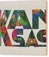 Kansas Typographic Watercolor Map Wood Print