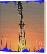 Kansas Windmill Framed Orange Silhouette In Blue Wood Print