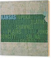 Kansas Word Art State Map On Canvas Wood Print