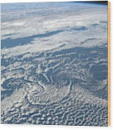 Karman Vortex Cloud Streets From Space Wood Print