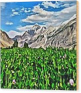 Kashmir Field Wood Print