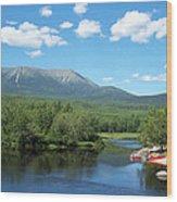 Katahdin From Abol Bridge Wood Print