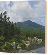 Katahdin From Sandy Stream Pond Wood Print