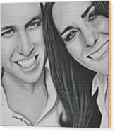 Kate And William Wood Print by Samantha Howell