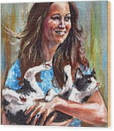Kate Middleton Duchess Of Cambridge And Her Royal Baby Cat Wood Print