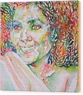 Kathleen Battle - Watercolor Portrait Wood Print
