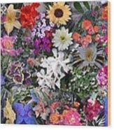 Kathy's Flowers Collage Wood Print