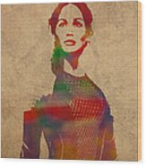 Katniss Everdeen From Hunger Games Jennifer Lawrence Watercolor Portrait On Worn Parchment Wood Print