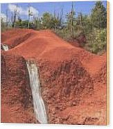 Kauai Red Dirt Waterfall Wood Print