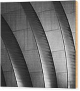 Kauffman Performing Arts Center Black And White Wood Print