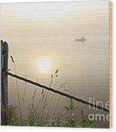 Kayak Anglers Sunrise Wood Print by Brenda Schwartz