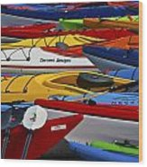 Kayak Explosion Wood Print
