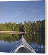 Kayak On Calm Lake Wood Print