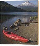Kayak On Trillium Lake Wood Print