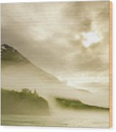Kayaker And Marine Fog On The Alsek Wood Print