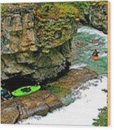 Kayakers In Maligne Canyon In Jasper Np-alberta Wood Print