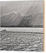 Kayakers On Jackson Lake Wood Print