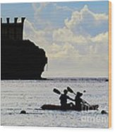 Kayaking Across The Bay Wood Print