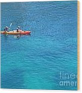 Kayaking At Calanque De Port Miou In Cassis France Wood Print