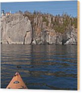 Kayaking Beneath The Light Wood Print