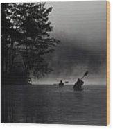 Kayaking In The Fog Wood Print