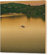 Kayaking On Lady Bird Lake Wood Print