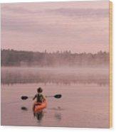 Kayaking On Starrett Lake At Sunrise Wood Print