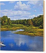 Kayaking The Moose River - Old Forge New York Wood Print by David Patterson
