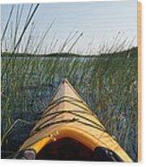 Kayaking Through Reeds Bwca Wood Print