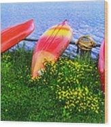 Kayaks At Lake Galena Wood Print
